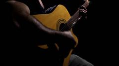 Man Playing Rhythm With Folk Guitar. Stock Footage