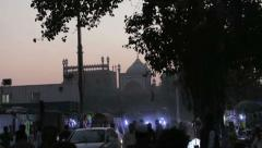 Jama Masjid in background at Chandi Chowk Stock Footage
