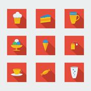 Stock Illustration of flat icons for cafe