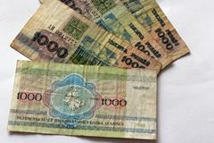 Banknotes of byelorussian roubles on a white Stock Photos