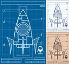 Stock Illustration of Rocket Blueprint Cartoon