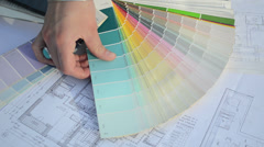 Woman choose tint hue color scale palette flat house plans Stock Footage