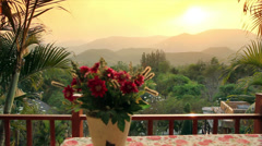 Sunset among moutains in front of romantic dinner at home ,4K Stock Footage