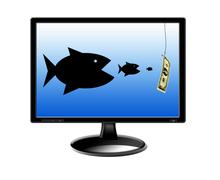 fishes devouring each other and pursuing for money - stock illustration