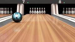Bowling Ball Missing into the Pins on Wooden Lane Stock Footage