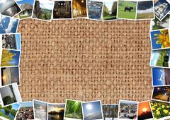 Motley photos on the brown sacking Stock Illustration