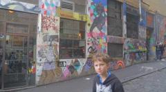 Graffiti street art scenes at Hosier and Rutledge Lane near federation square Stock Footage