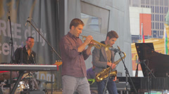 A band plays some jazz at the jazz festival at federation square 3 Stock Footage