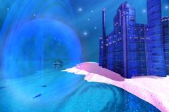 blue mansions - stock illustration