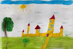 Child's drawing with great yellow fortress Stock Photos