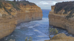 Overhead view Loch Ard Gorge - 10 minutes west of the 12 apostles Stock Footage