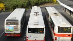 PRAGUE, CZECH REPUBLIC: Bus leave depot - timelapse Stock Footage