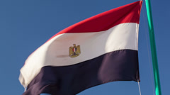 Egyptian flag fluttering in the wind Stock Footage