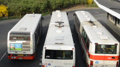 PRAGUE, CZECH REPUBLIC: Bus leave depot Stock Footage