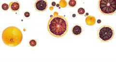 Falling blood oranges Stock Footage