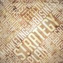 Stock Illustration of Strategy - Grunge Beige-Brown Wordcloud.