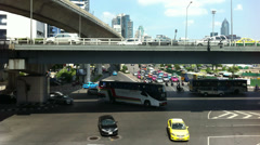 Timelapse of busy traffic street at Silom junction in Bangkok, 4K Stock Footage