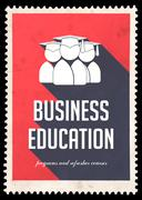 Business Education on Red in Flat Design. Stock Illustration