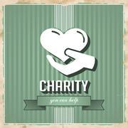 Charity toimintaperiaatteen Green litteä muotoilu. Piirros