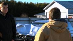 Argue at Car Crash Stock Footage