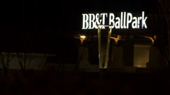 Charlotte North Carolina Scenic of BB&T Ball Park at night Stock Footage