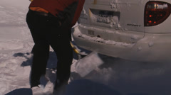 Digging Out Vehicle Back Stock Footage