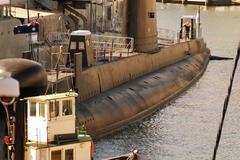 War Submarine anchored in Sydney Stock Photos