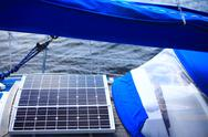 Stock Photo of solar panels in sailboat. renewable eco energy
