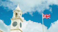 Historical Architecture in Bermuda with British Flag - stock footage