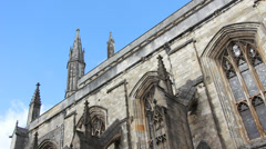 Side of Winchester Cathedral, UK Stock Footage