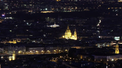 Budapest Hungary by Night Aerial View Timelapse 4 Stock Footage