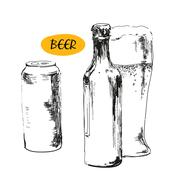 Glass of beer, beer bottles and cans Stock Illustration
