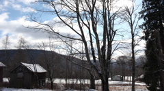Stock Video Footage of Catskills Barn & Clouds UD