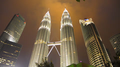 Stock Video Footage of Impressive Time Lapse architecture PETRONAS Twin Towers Kuala Lumpur Malaysia