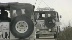 ONU UN military convoy in Lebanon  - stock footage