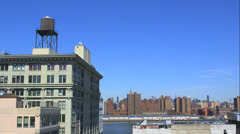 DUMBO and Manhattan. Old Brooklyn Waterfront. Stock Footage
