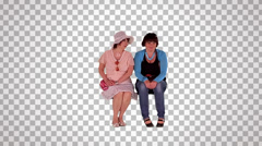 Two women on spectator seats (on transparent background) Stock Footage