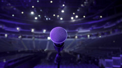Microphone on stage at concert venue - stock footage