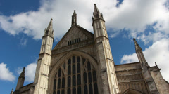 Winchester Cathedral, big clouds, UK Stock Footage