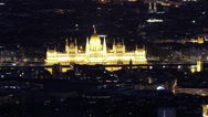Stock Video Footage of Budapest Hungary by Night Aerial View Timelapse 10 zoom
