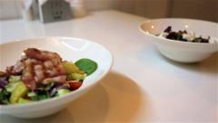 Light and Dark shots of dishes for two Stock Footage