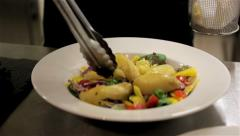 Dish ready to be served in a restaurant. Compilation of 4 clips. Stock Footage