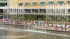 Time Lapse PETRONAS Twin Towers dancing water fountain Kuala Lumpur Malaysia Stock Footage