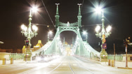 Stock Video Footage of Liberty Bridge at Night Budapest Hungary Timelapse 1