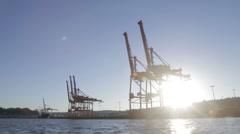 Seattle dock mounted pedestal cranes - stock footage