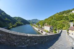 Devils Bridge Fisheye View, Lucca Stock Photos