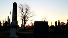 Sunrise time lapse at cemetery Stock Footage