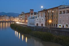 Night in Pisa, Lungarni View - stock photo