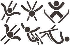 freestyle icons set - stock illustration