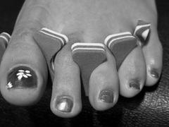 Woman Foot after a French Pedicure, USA - stock photo